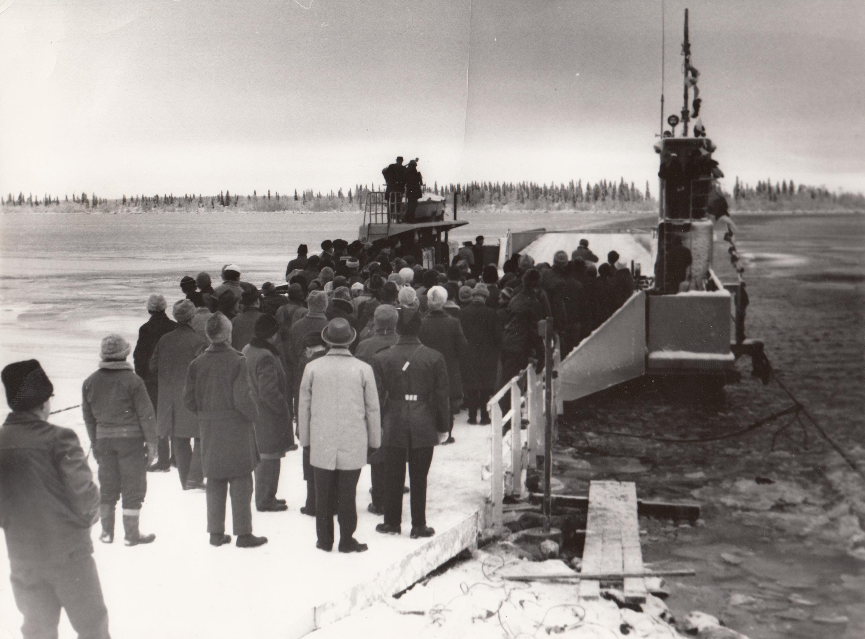 1961-11-29 Landshövding Näslund inviger färjan till Seskarö
