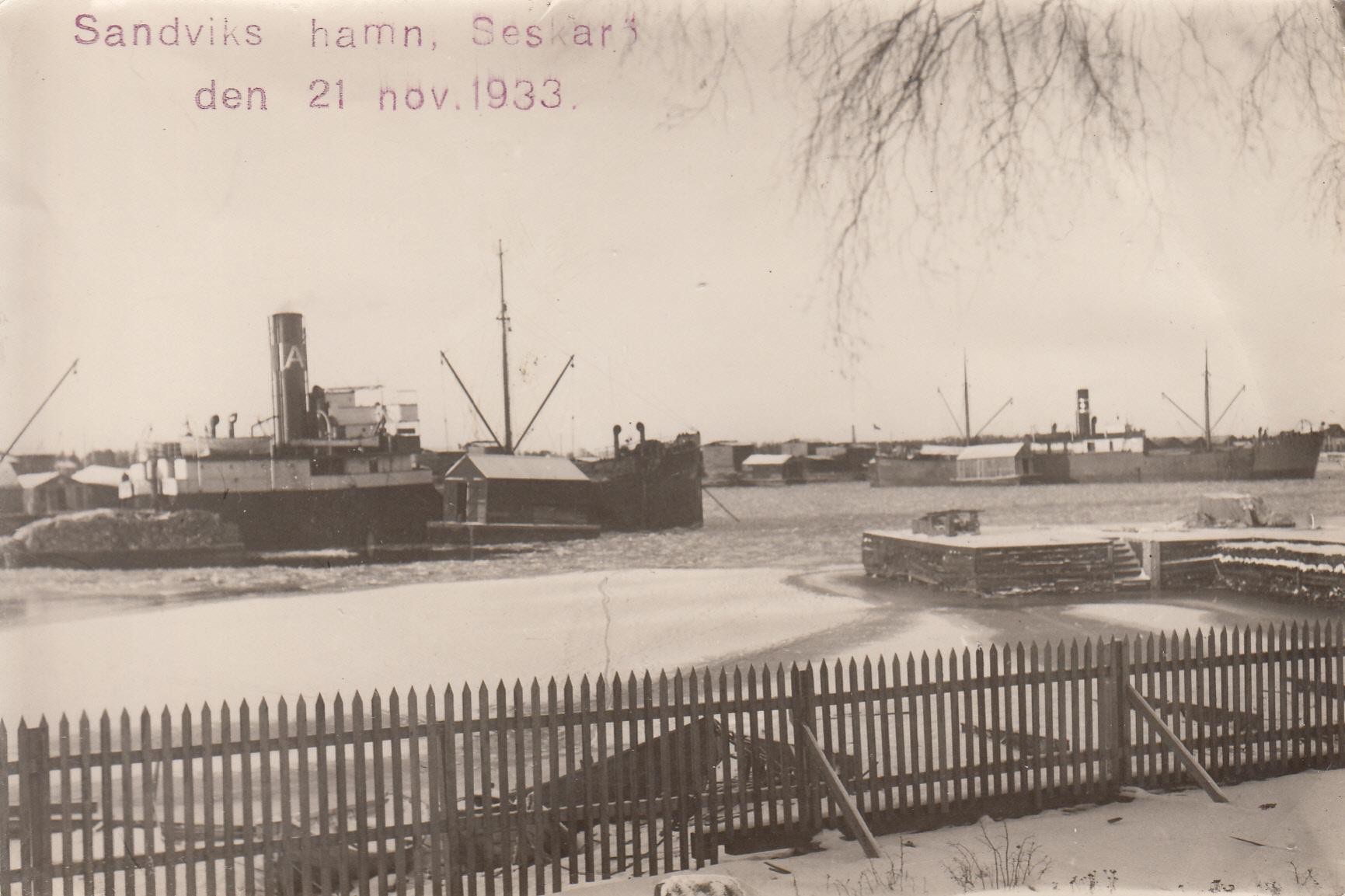 Sandviks hamn Seskarö 1933-11-21